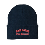 12 Inch Solid Knit Cap - RED/SIL